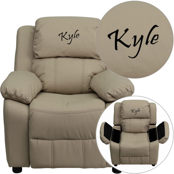 Wholesale Personalized Deluxe Padded Beige Vinyl Kids Recliner with Storage Arms
