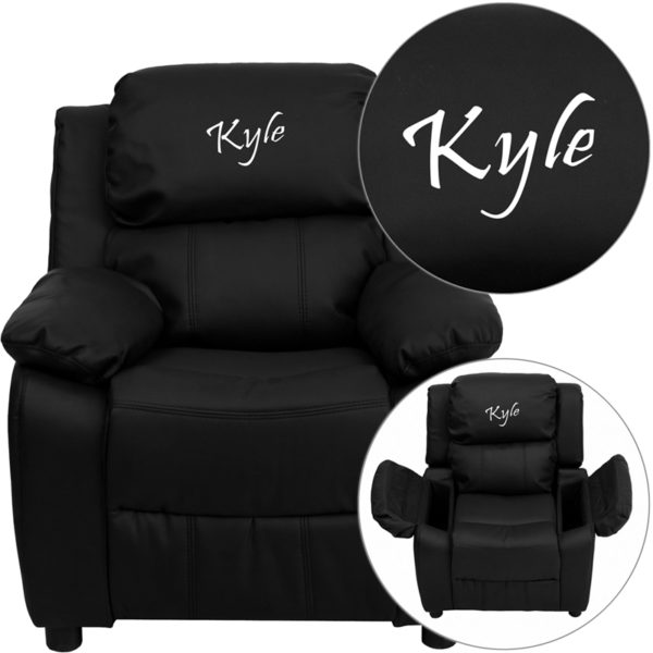 Wholesale Personalized Deluxe Padded Black Leather Kids Recliner with Storage Arms