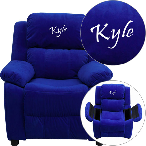 Wholesale Personalized Deluxe Padded Blue Microfiber Kids Recliner with Storage Arms