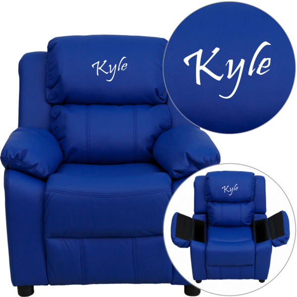 Wholesale Personalized Deluxe Padded Blue Vinyl Kids Recliner with Storage Arms