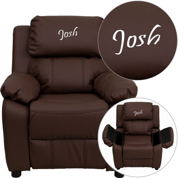 Wholesale Personalized Deluxe Padded Brown Leather Kids Recliner with Storage Arms