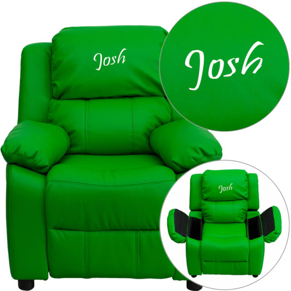 Wholesale Personalized Deluxe Padded Green Vinyl Kids Recliner with Storage Arms