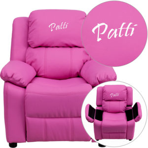 Wholesale Personalized Deluxe Padded Hot Pink Vinyl Kids Recliner with Storage Arms