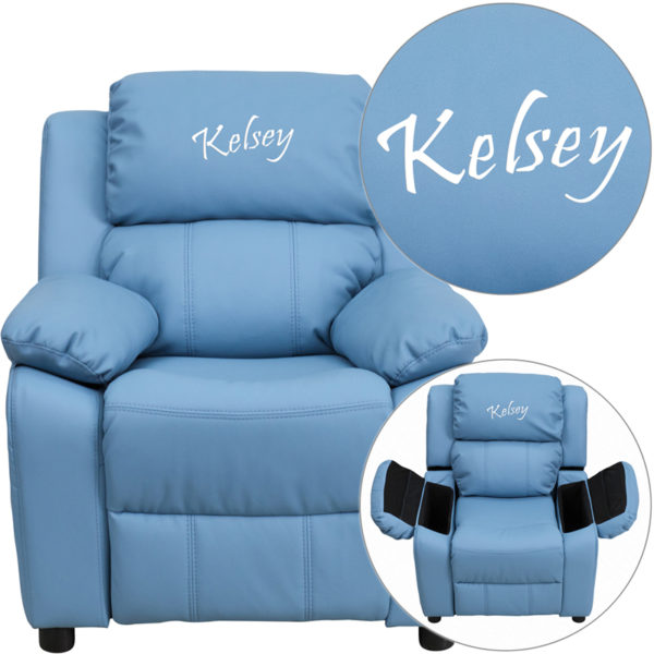 Wholesale Personalized Deluxe Padded Light Blue Vinyl Kids Recliner with Storage Arms