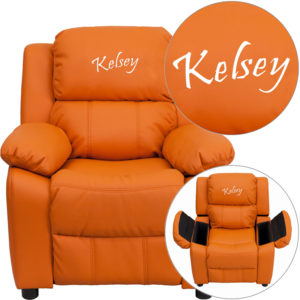 Wholesale Personalized Deluxe Padded Orange Vinyl Kids Recliner with Storage Arms