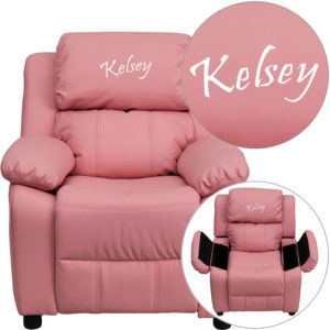Wholesale Personalized Deluxe Padded Pink Vinyl Kids Recliner with Storage Arms