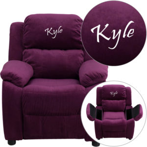 Wholesale Personalized Deluxe Padded Purple Microfiber Kids Recliner with Storage Arms