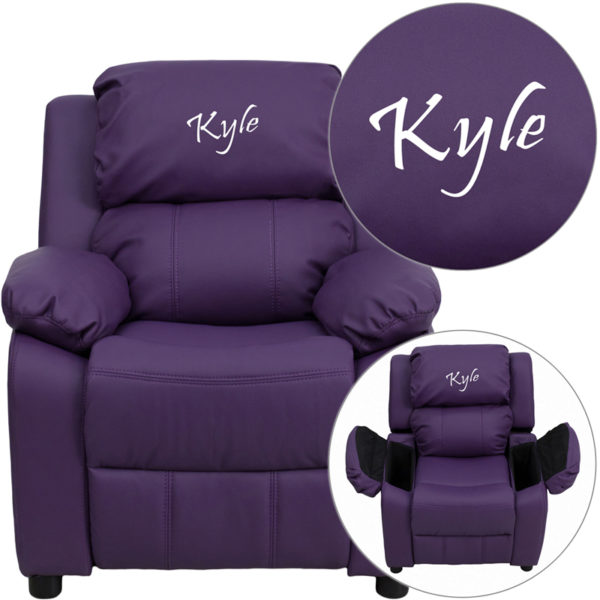 Wholesale Personalized Deluxe Padded Purple Vinyl Kids Recliner with Storage Arms