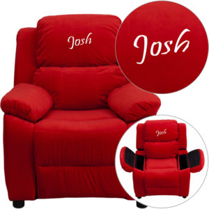 Wholesale Personalized Deluxe Padded Red Microfiber Kids Recliner with Storage Arms