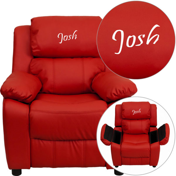 Wholesale Personalized Deluxe Padded Red Vinyl Kids Recliner with Storage Arms