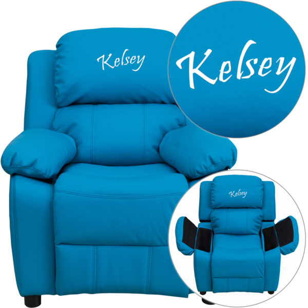 Wholesale Personalized Deluxe Padded Turquoise Vinyl Kids Recliner with Storage Arms