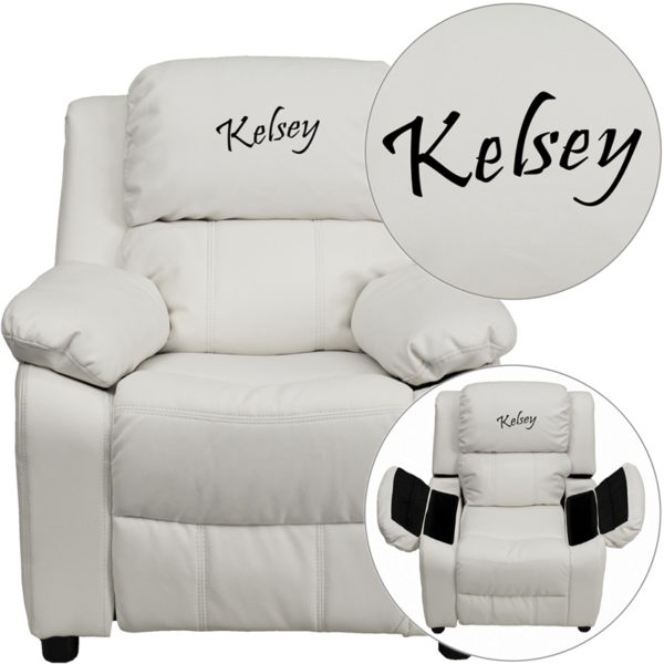 Wholesale Personalized Deluxe Padded White Vinyl Kids Recliner with Storage Arms