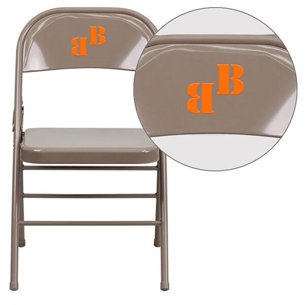 Wholesale Personalized HERCULES Series Triple Braced & Double Hinged Beige Metal Folding Chair