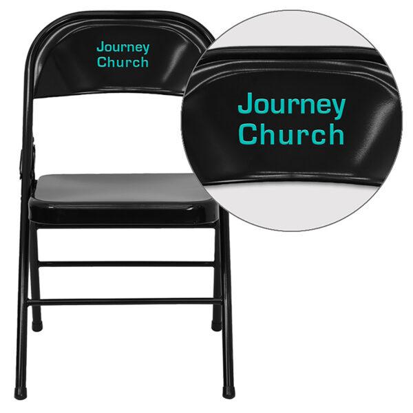 Wholesale Personalized HERCULES Series Triple Braced & Double Hinged Black Metal Folding Chair