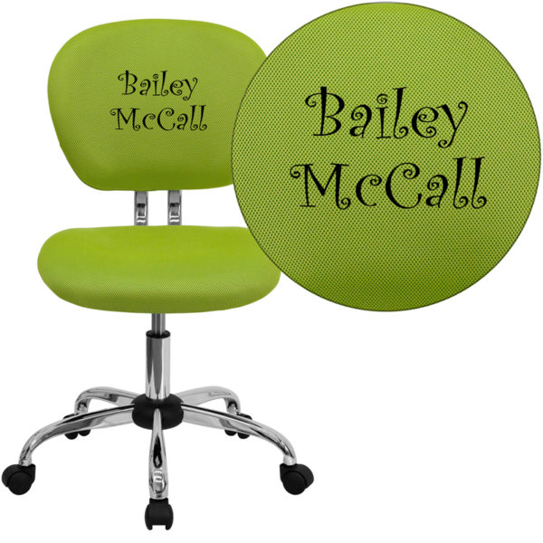 Wholesale Personalized Mid-Back Apple Green Mesh Swivel Task Office Chair with Chrome Base