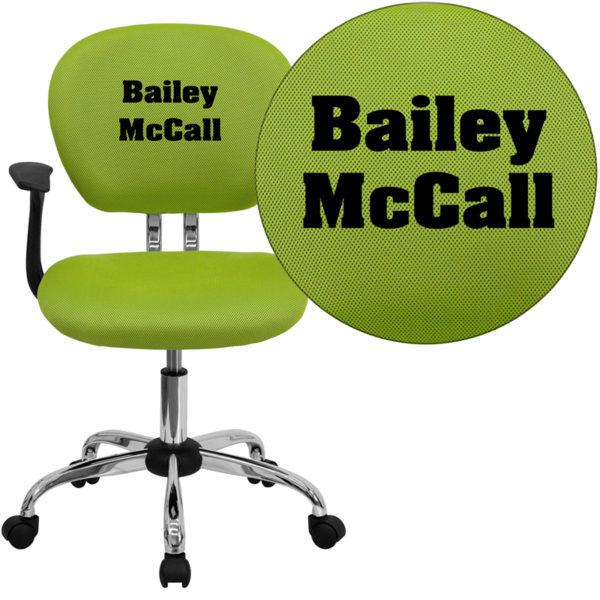 Wholesale Personalized Mid-Back Apple Green Mesh Swivel Task Office Chair with Chrome Base and Arms