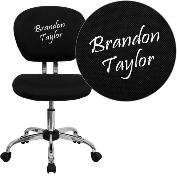 Wholesale Personalized Mid-Back Black Mesh Swivel Task Office Chair with Chrome Base