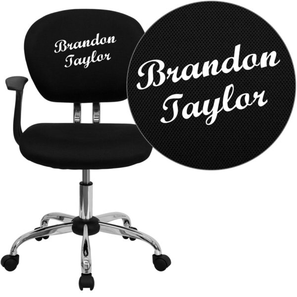 Wholesale Personalized Mid-Back Black Mesh Swivel Task Office Chair with Chrome Base and Arms