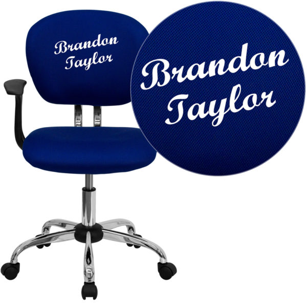 Wholesale Personalized Mid-Back Blue Mesh Swivel Task Office Chair with Chrome Base and Arms