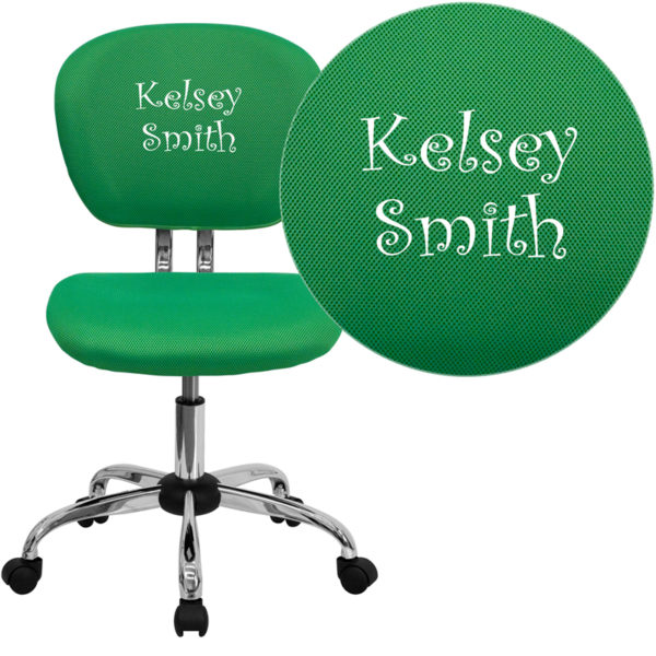 Wholesale Personalized Mid-Back Bright Green Mesh Swivel Task Office Chair with Chrome Base