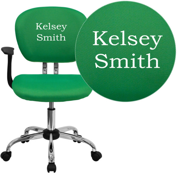 Wholesale Personalized Mid-Back Bright Green Mesh Swivel Task Office Chair with Chrome Base and Arms