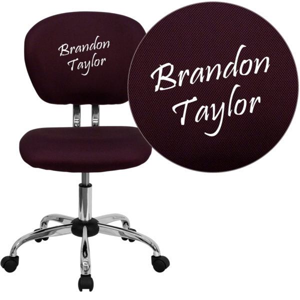 Wholesale Personalized Mid-Back Burgundy Mesh Swivel Task Office Chair with Chrome Base