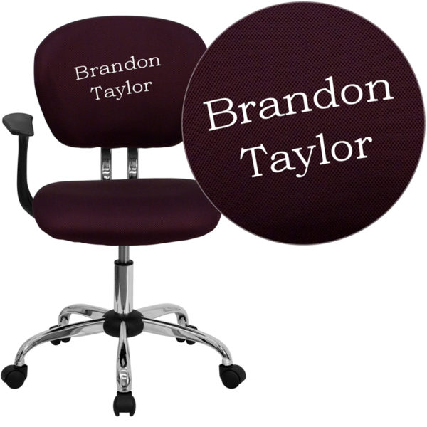 Wholesale Personalized Mid-Back Burgundy Mesh Swivel Task Office Chair with Chrome Base and Arms
