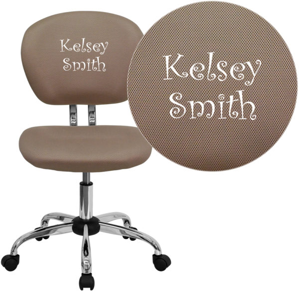 Wholesale Personalized Mid-Back Coffee Brown Mesh Swivel Task Office Chair with Chrome Base