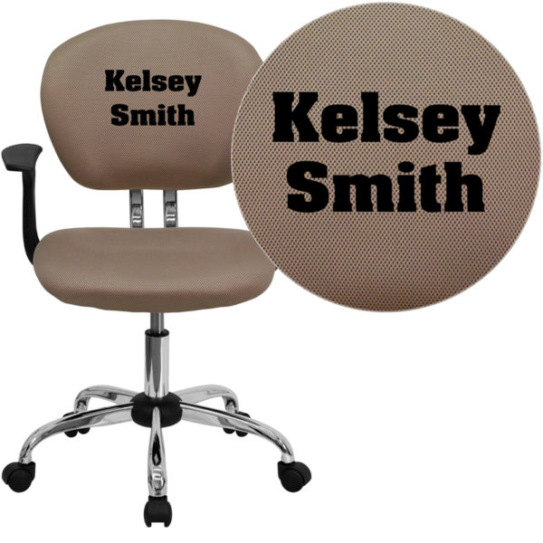 Wholesale Personalized Mid-Back Coffee Brown Mesh Swivel Task Office Chair with Chrome Base and Arms