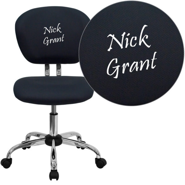 Wholesale Personalized Mid-Back Gray Mesh Swivel Task Office Chair with Chrome Base