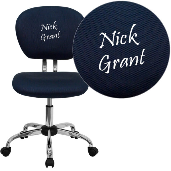 Wholesale Personalized Mid-Back Navy Mesh Swivel Task Office Chair with Chrome Base