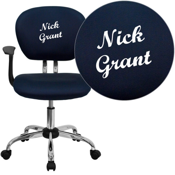 Wholesale Personalized Mid-Back Navy Mesh Swivel Task Office Chair with Chrome Base and Arms