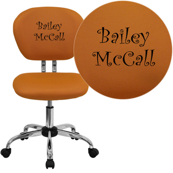 Wholesale Personalized Mid-Back Orange Mesh Swivel Task Office Chair with Chrome Base