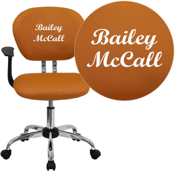 Wholesale Personalized Mid-Back Orange Mesh Swivel Task Office Chair with Chrome Base and Arms