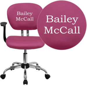 Wholesale Personalized Mid-Back Pink Mesh Swivel Task Office Chair with Chrome Base and Arms