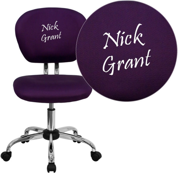 Wholesale Personalized Mid-Back Purple Mesh Swivel Task Office Chair with Chrome Base