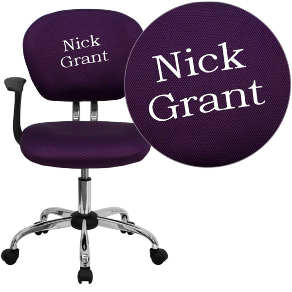 Wholesale Personalized Mid-Back Purple Mesh Swivel Task Office Chair with Chrome Base and Arms
