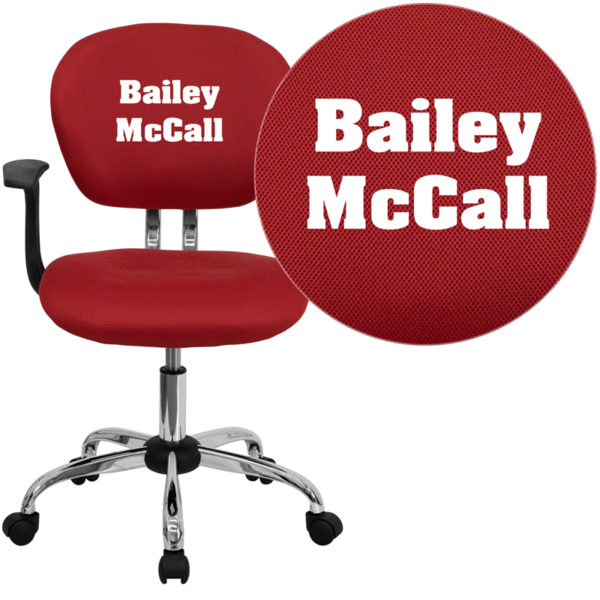 Wholesale Personalized Mid-Back Red Mesh Swivel Task Office Chair with Chrome Base and Arms