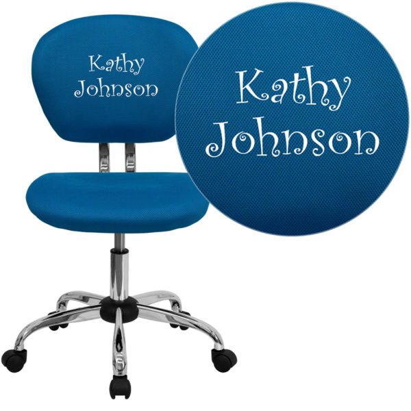 Wholesale Personalized Mid-Back Turquoise Mesh Swivel Task Office Chair with Chrome Base