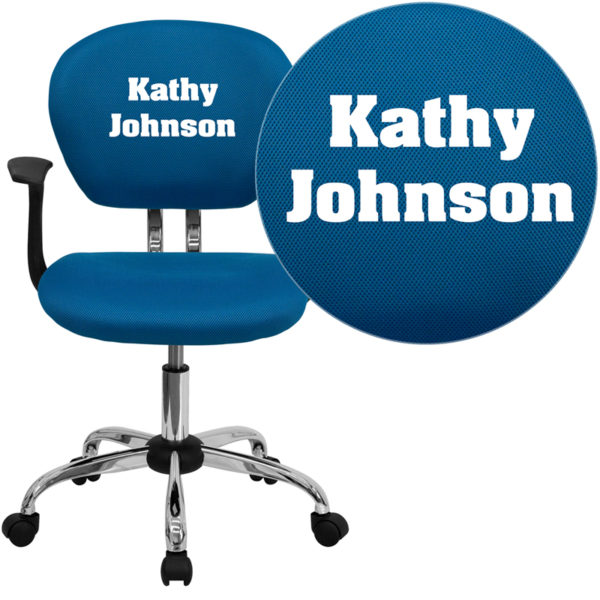 Wholesale Personalized Mid-Back Turquoise Mesh Swivel Task Office Chair with Chrome Base and Arms