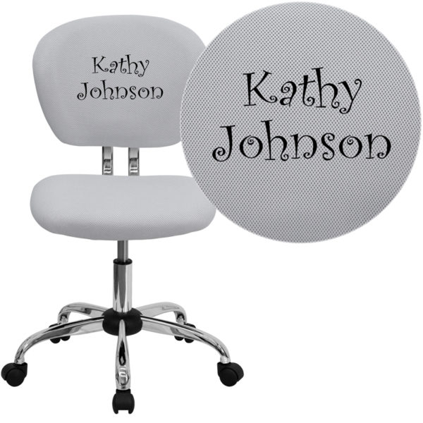 Wholesale Personalized Mid-Back White Mesh Swivel Task Office Chair with Chrome Base