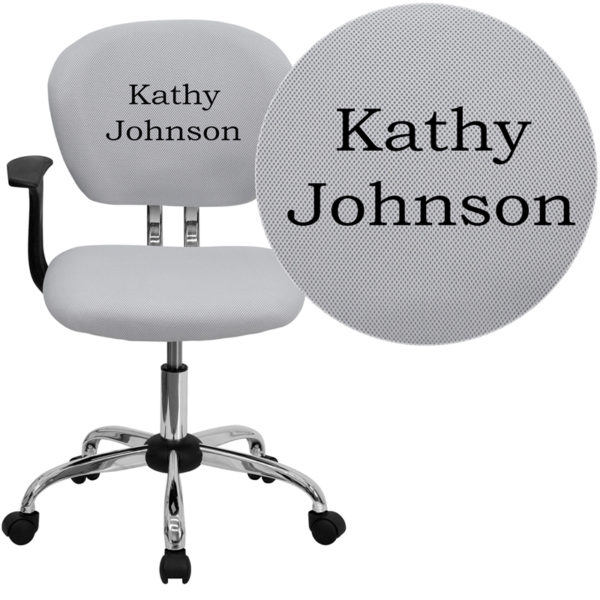 Wholesale Personalized Mid-Back White Mesh Swivel Task Office Chair with Chrome Base and Arms