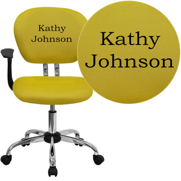 Wholesale Personalized Mid-Back Yellow Mesh Swivel Task Office Chair with Chrome Base and Arms