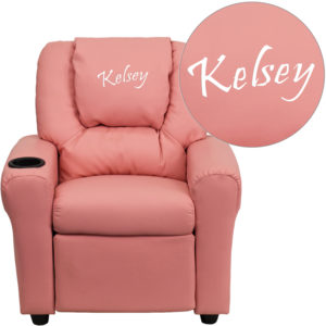 Wholesale Personalized Pink Vinyl Kids Recliner with Cup Holder and Headrest