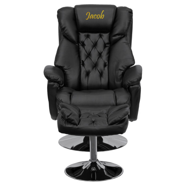 Wholesale Personalized Transitional Multi-Position Recliner and Ottoman with Chrome Base in Black Leather
