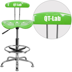 Wholesale Personalized Vibrant Apple Green and Chrome Drafting Stool with Tractor Seat