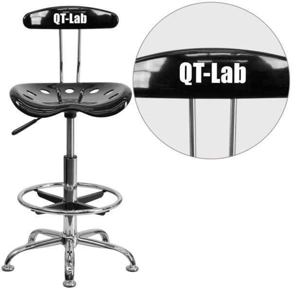 Wholesale Personalized Vibrant Black and Chrome Drafting Stool with Tractor Seat