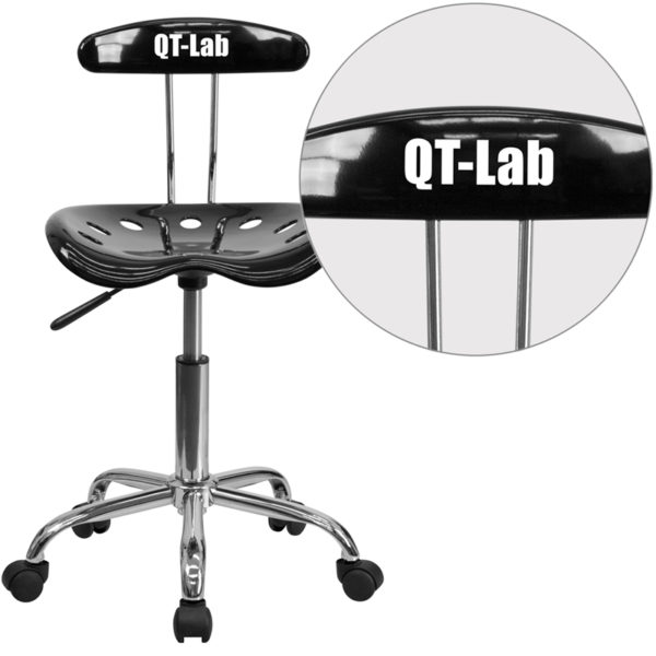 Wholesale Personalized Vibrant Black and Chrome Swivel Task Office Chair with Tractor Seat