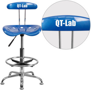 Wholesale Personalized Vibrant Bright Blue and Chrome Drafting Stool with Tractor Seat
