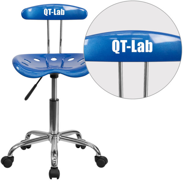 Wholesale Personalized Vibrant Bright Blue and Chrome Swivel Task Office Chair with Tractor Seat
